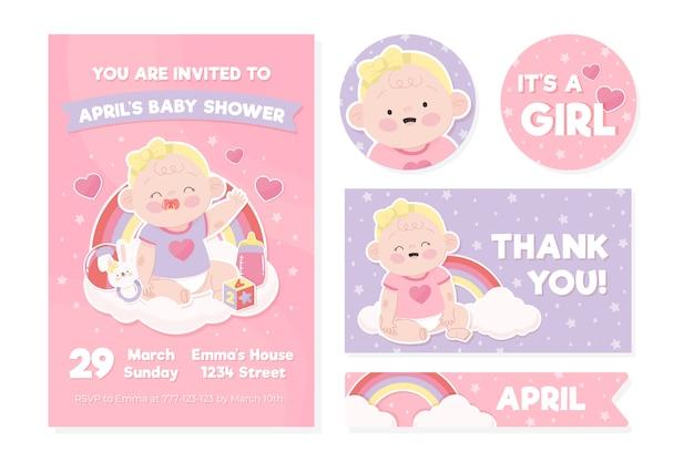 Baby shower uitnodiging sjabloon Premium Vector