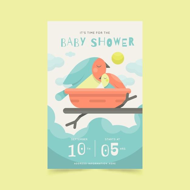 Baby shower uitnodiging stijl Gratis Vector