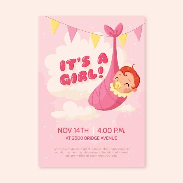Baby shower uitnodiging voor babymeisje Gratis Vector