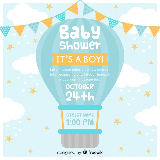 Baby shower uitnodiging Gratis Vector