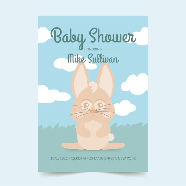Baby shower uitnodigingskaart met schattige konijntje Gratis Vector