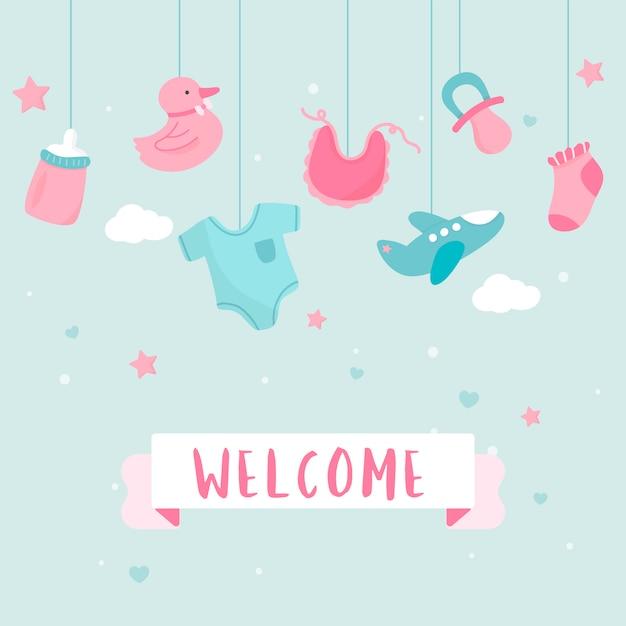 Baby shower uitnodigingskaart ontwerp Gratis Vector