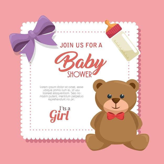Baby shower uitnodigingskaart Premium Vector