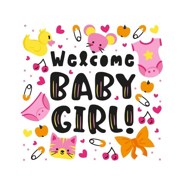 Baby shower verrassingsfeestje voor babymeisje Gratis Vector