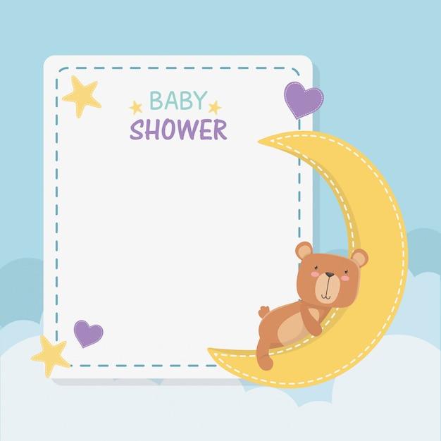 Baby shower vierkante kaart met kleine beer teddy en maan Gratis Vector