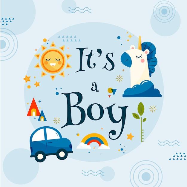 Baby shower zelfs illustratie voor jongen Premium Vector
