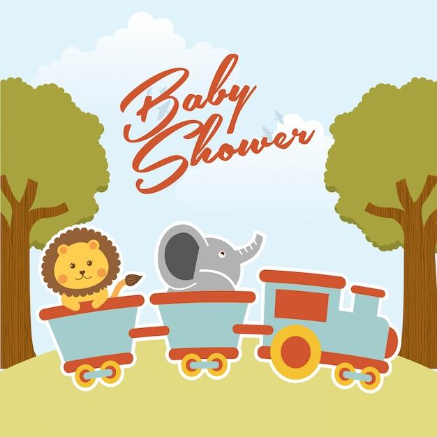 Baby showerontwerp over landschaps vectorillustratie als achtergrond Premium Vector