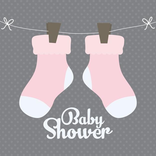Baby sokken kleding schattig pictogram Gratis Vector