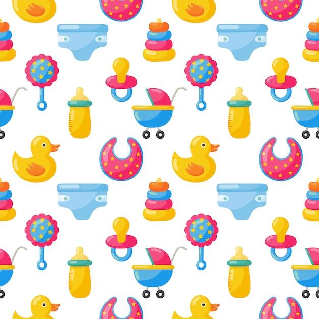 Baby speelgoed en kleding naadloos patroon. pasgeboren artikelen Premium Vector