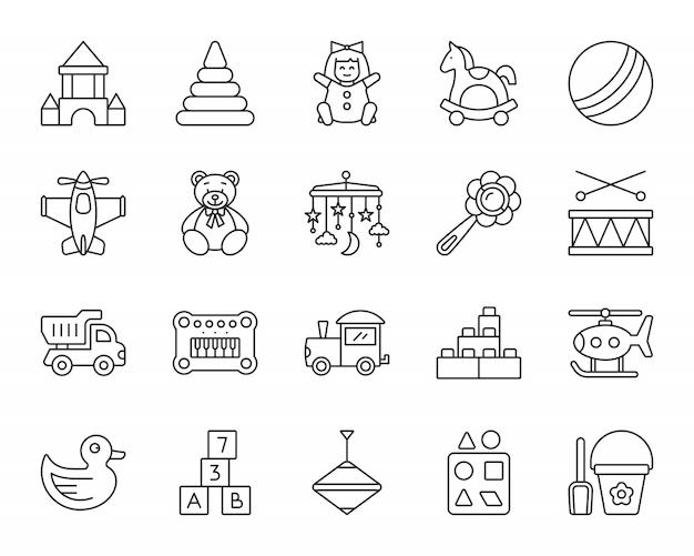 Baby speelgoed lijn iconen set, kind spelen teken, kinderen plezier en activiteit spel. Premium Vector
