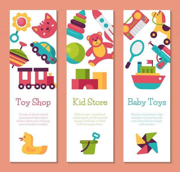 Baby speelgoed winkel banner in platte cartoon-stijl. kids game markt omvat teddybeer, piramide, pop Premium Vector
