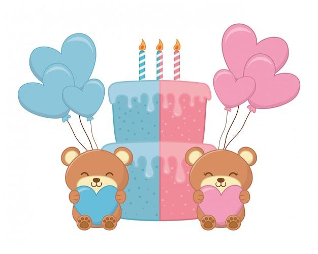Baby verjaardag partij elementen vector illustratie Premium Vector