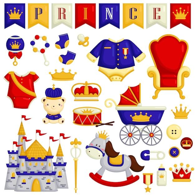 Babyartikelen in prince theme Premium Vector