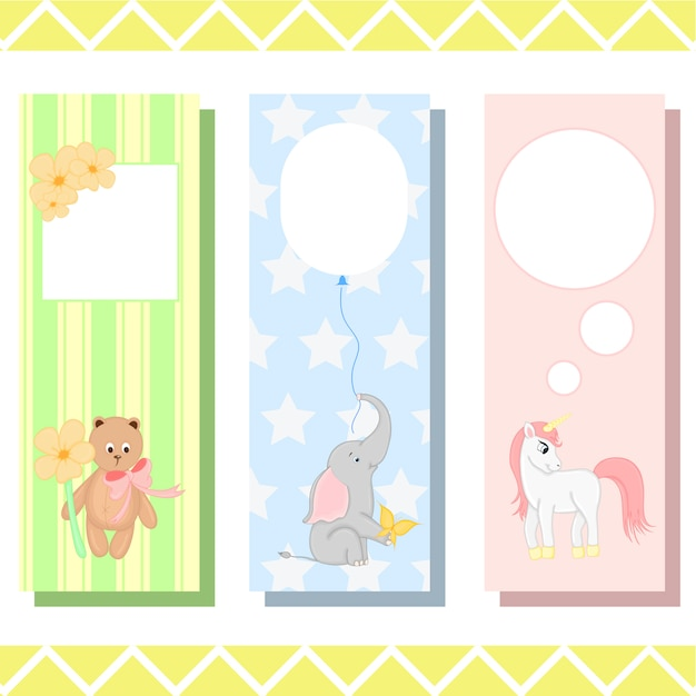 Babybladwijzers met schattige dieren, kinderachtige vectorafbeeldingen Premium Vector