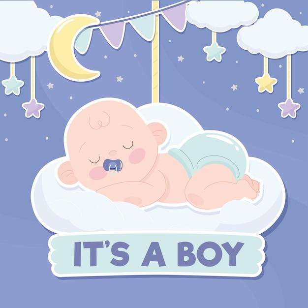 Babydouche jongen concept Gratis Vector