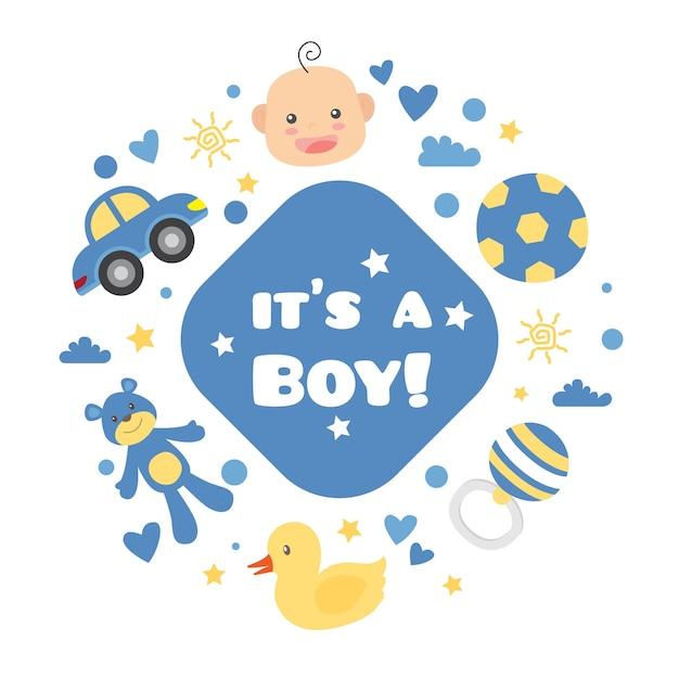 Babydouche (jongen) met speelgoed Premium Vector