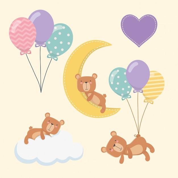 Babydouche kaart met kleine beren tekens Gratis Vector