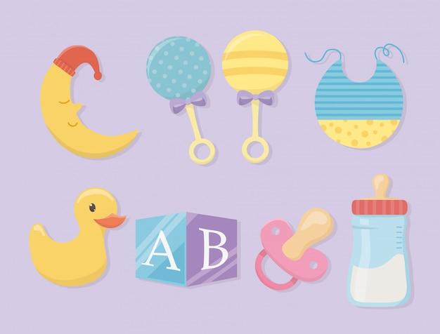 Babydouche kaart met set accessoires Gratis Vector