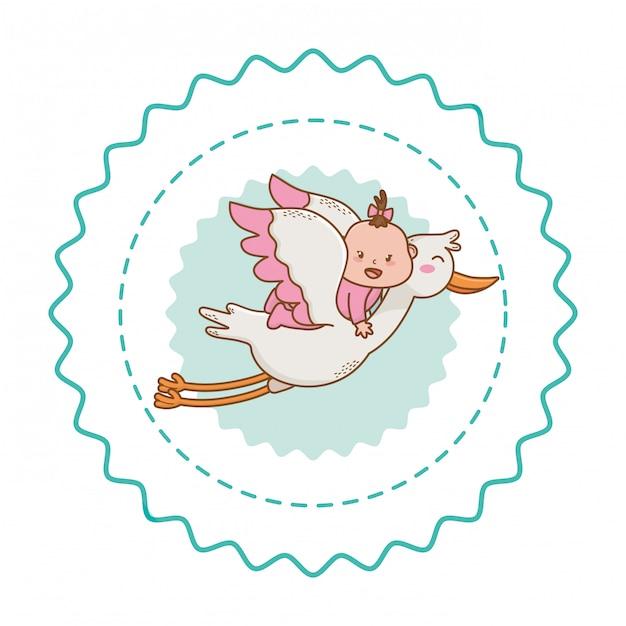 Babydouche leuke mooie illustratie Premium Vector