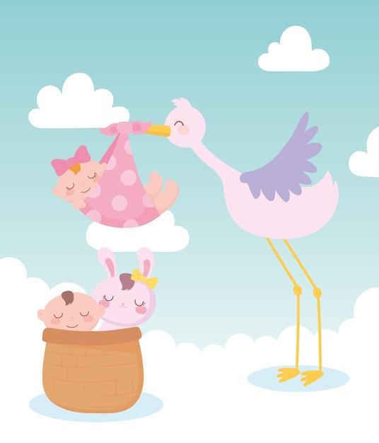 Babydouche, ooievaar met babymeisje en kleine jongen en konijn in mand, feest welkom pasgeboren Premium Vector
