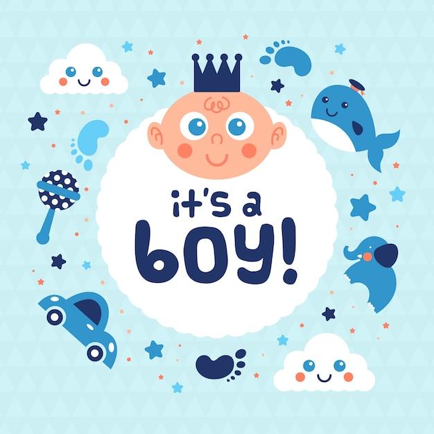 Babydouche voor jongen met speelgoed Gratis Vector