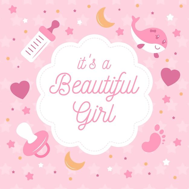 Babydouche voor meisje met fopspeen en harten Gratis Vector