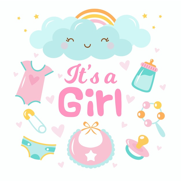 Babydouche voor meisje Premium Vector