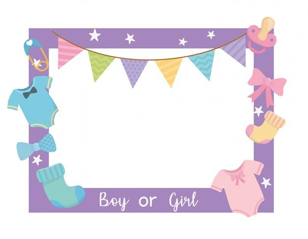 Babydouchekaart met vierkant frame en accessoires Gratis Vector