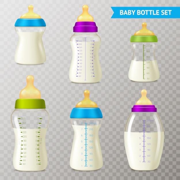 Babyflessen transparant set Gratis Vector