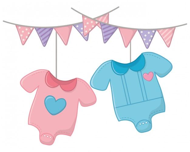 Babykleding en hangers vector illustratie Premium Vector