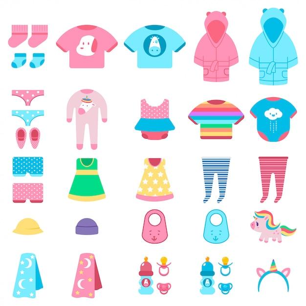 Babykleding en speelgoed vector cartoon set geïsoleerd. Premium Vector