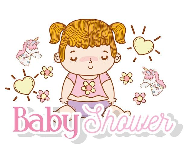 Babymeisje met harten en bloemendecoratie Premium Vector