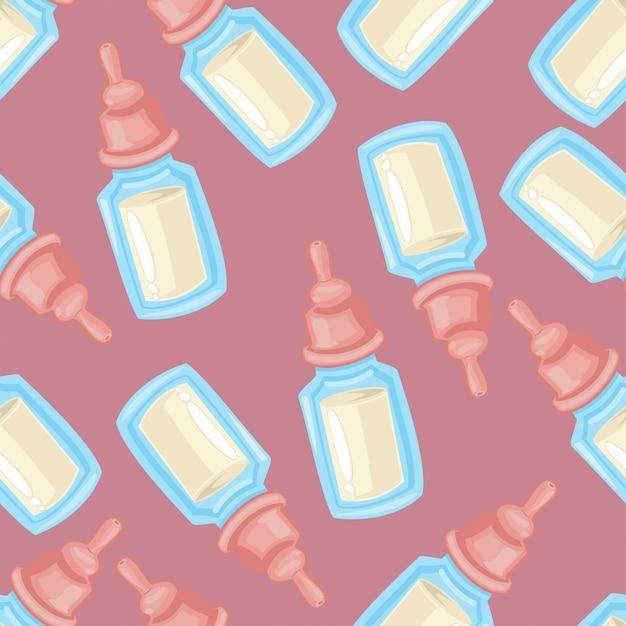 Babymelkfles naadloos patroon op een roze voor kinderen behang, verpakking, verpakking en achtergrond. Premium Vector