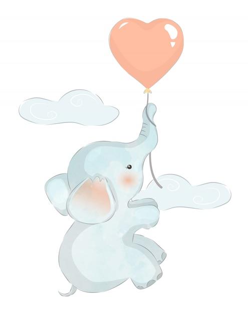 Babyolifant die met ballon vliegt Premium Vector