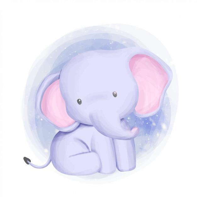 Babyolifant schattig en nieuwsgierig Premium Vector