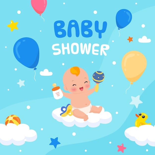 Babyshower-evenement voor jongensontwerp Gratis Vector
