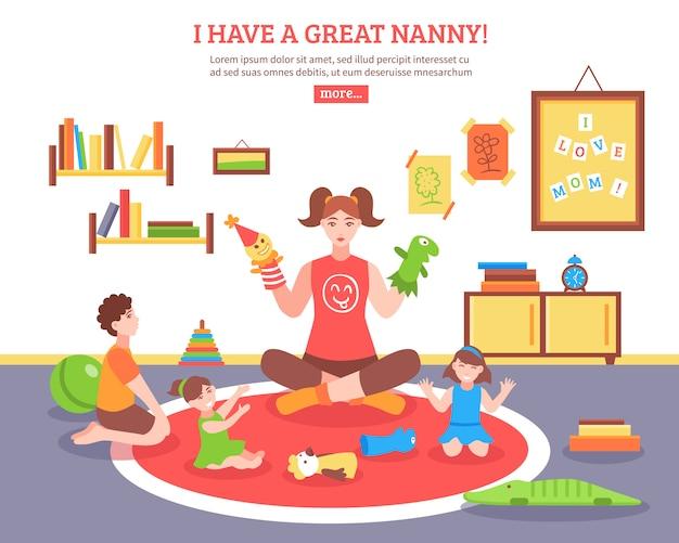 Babysitter concept illustratie Gratis Vector