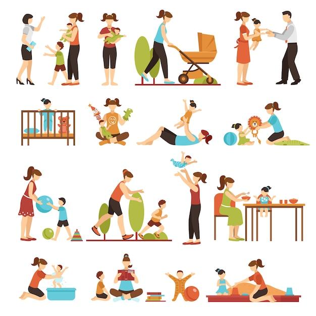 Babysitter flat set van decoratieve gekleurde pictogrammen Gratis Vector