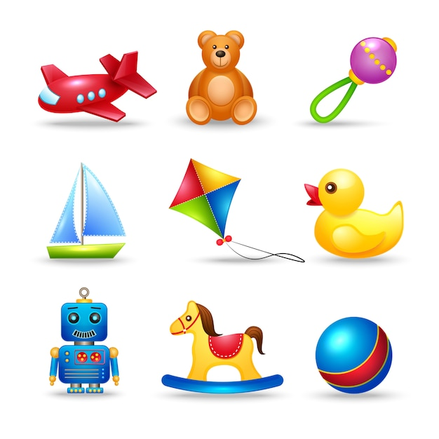 Babyspeelgoedenset Premium Vector