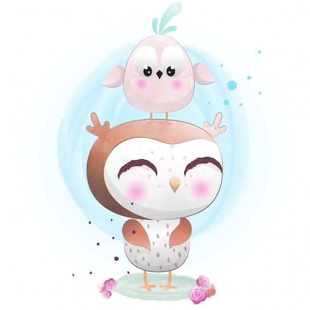 Babyuil schattig karakter geschilderd met waterverf Premium Vector