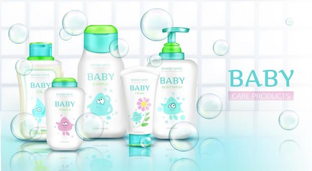 Babyverzorgingsproducten, cosmetica-flessen met kindercartoon Gratis Vector