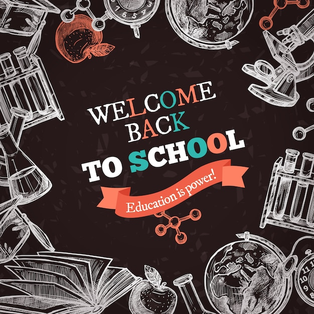 Back to school education achtergrond Gratis Vector