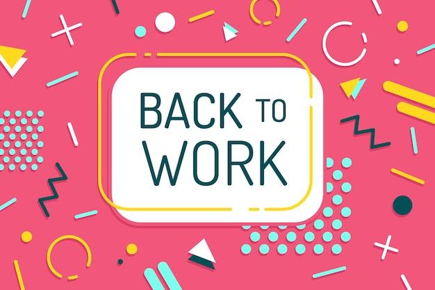 Back to work-letters op memphis-behang Gratis Vector