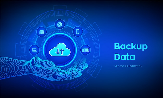 Back-uppictogram in robotachtige hand. zakelijke opslaggegevens online cloudback-up. Premium Vector