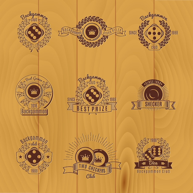 Backgammon monochrome emblemen Premium Vector