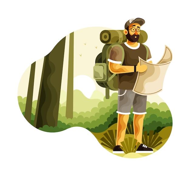 Backpacker met kaart zoeken routebeschrijving in wilderness Premium Vector