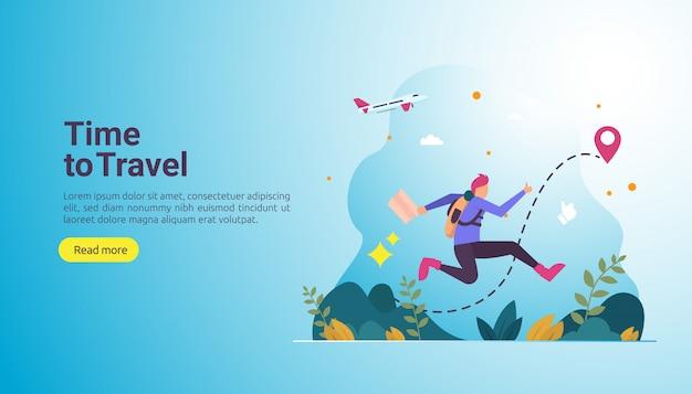 Backpacker reizen avontuur concept. outdoor vakantiethema van wandelen, klimmen en wandelen Premium Vector