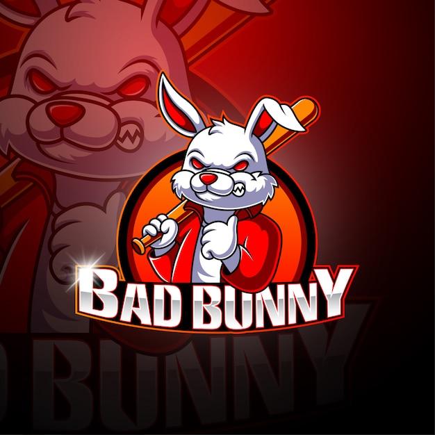 Bad bunny esport mascotte logo Premium Vector
