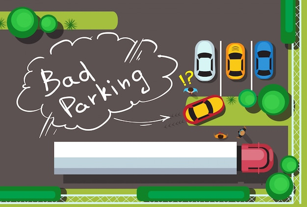 Bad city parking blocking cars concept bovenste hoekmening Premium Vector