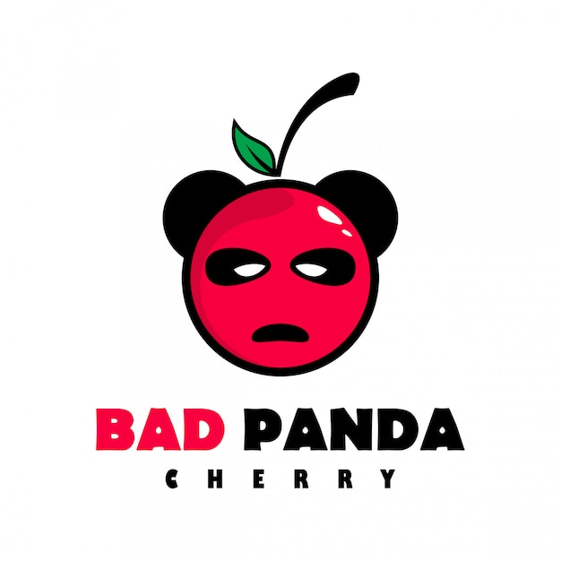 Bad panda cherry-logo Premium Vector